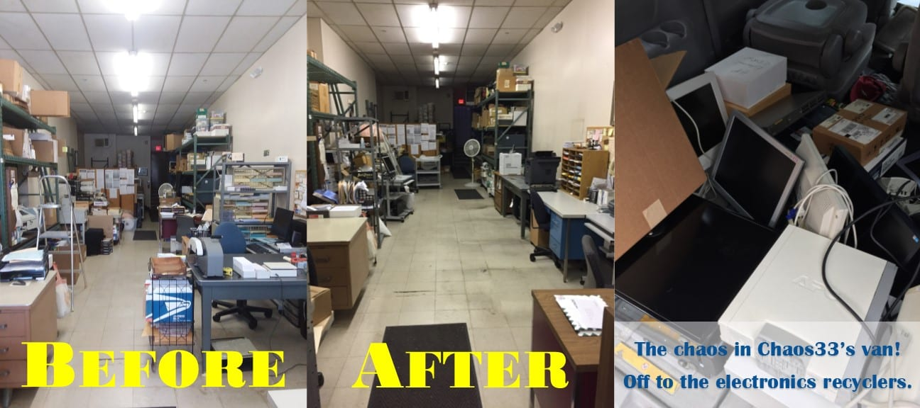 """Before"" and ""After"" photos of a cluttered and slightly-less-cluttered office, as well as a photo of the back of a minivan filled with electronic devices."
