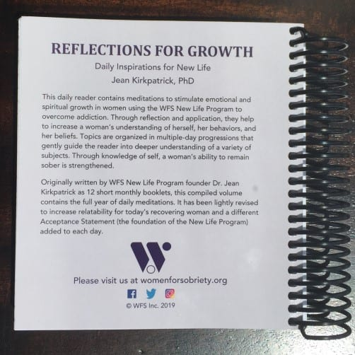 Image of back cover of Reflections for Growth book.